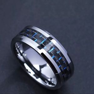 2020 Titanium Steel Black/Blue Carbon Fiber Ring